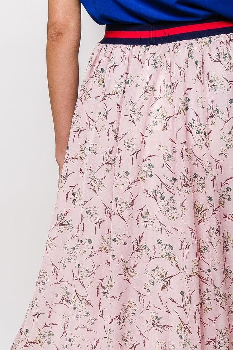 735b1959c3a3 Dlhá ružová sukňa s kvetovaným vzorom