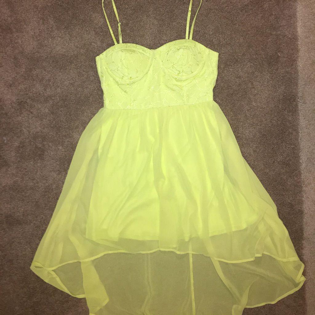 Neon yellow crochet top high low dress neon yellow high low and neon