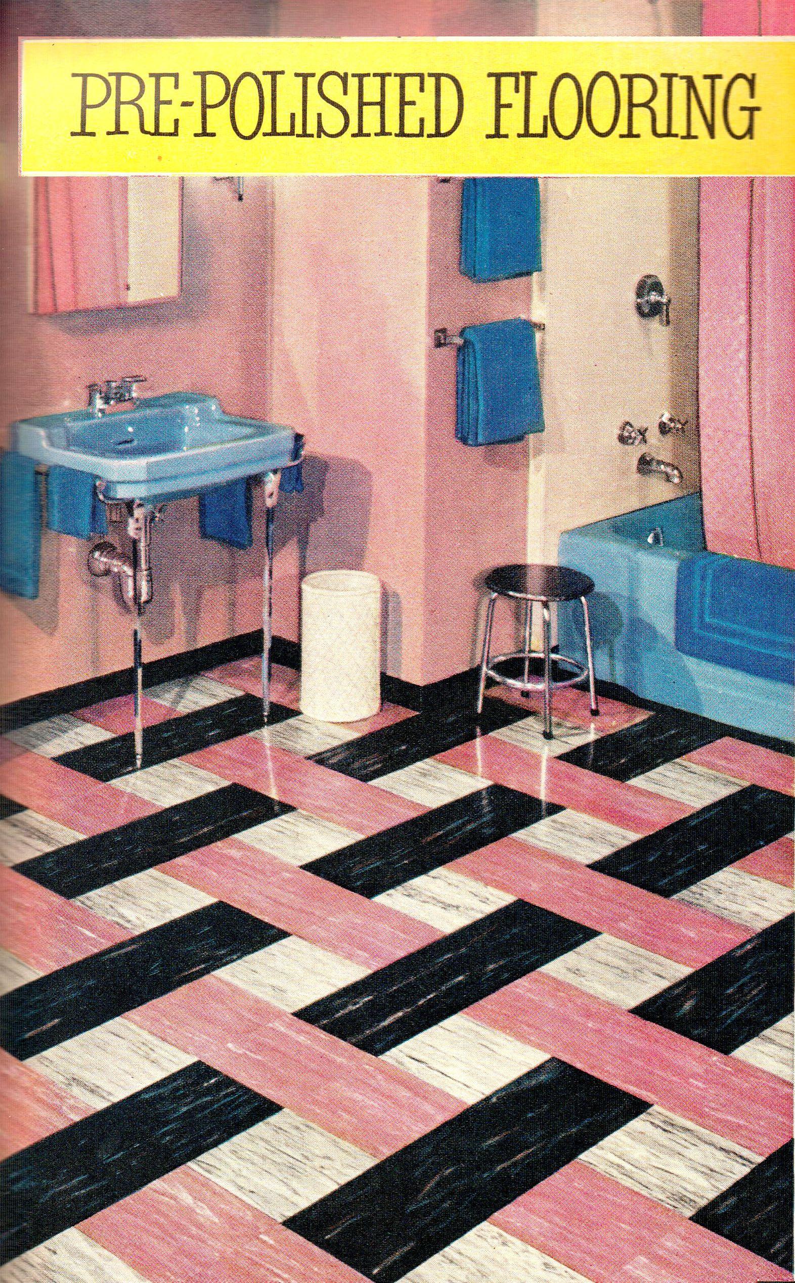 mid century bathroom featuring vinyl flooring by good year 1952
