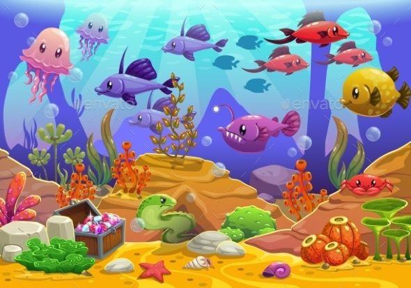 Underwater by Lilu330 Vector cartoon underwater ...