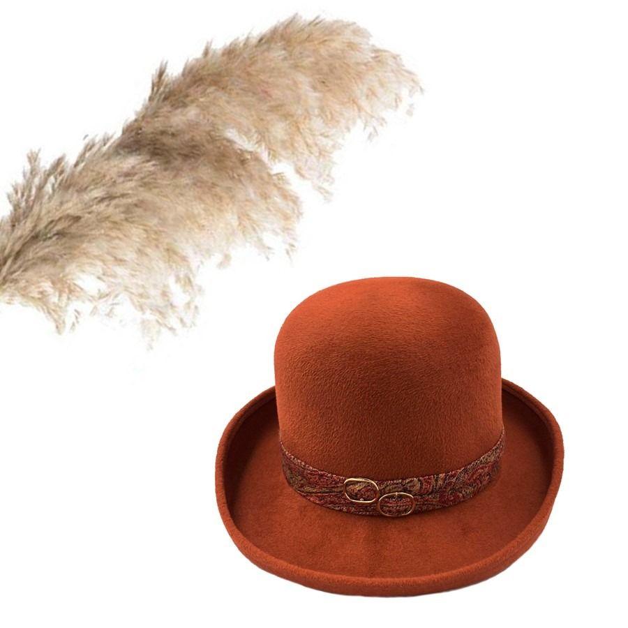 Ogan Burnt Orange Rabbit Fur Felt Bowler Modern Derby Hat Etsy In 2020 Hats Derby Hats Rabbit Fur