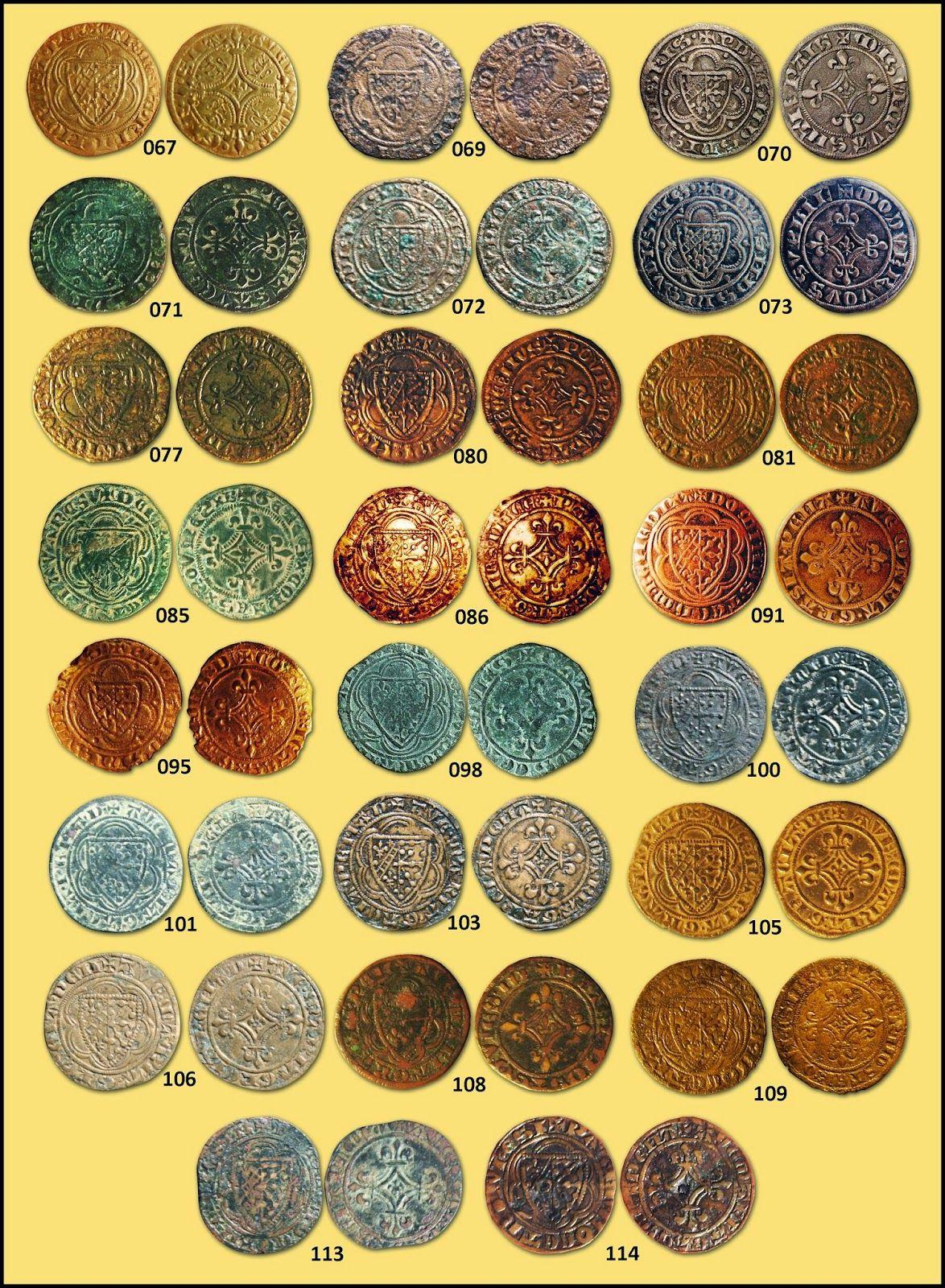 Numisarchives. Numismatic. Jetons. Navarre: Jetones con escudo dimidiado Evreux/Navarra, y cruz del reverso arqueada.