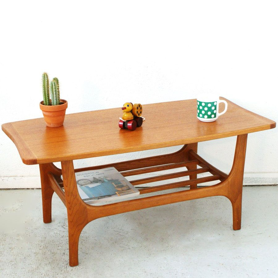 Petite table basse scandinave teck ann es 50 mobilier for Petite table basse scandinave