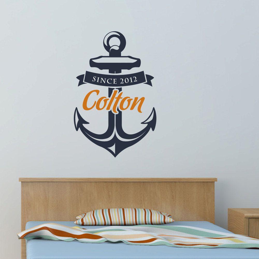 Wall Decal Kids Anchor With Custom Name Birth Year Nautical - Custom vinyl wall art decals