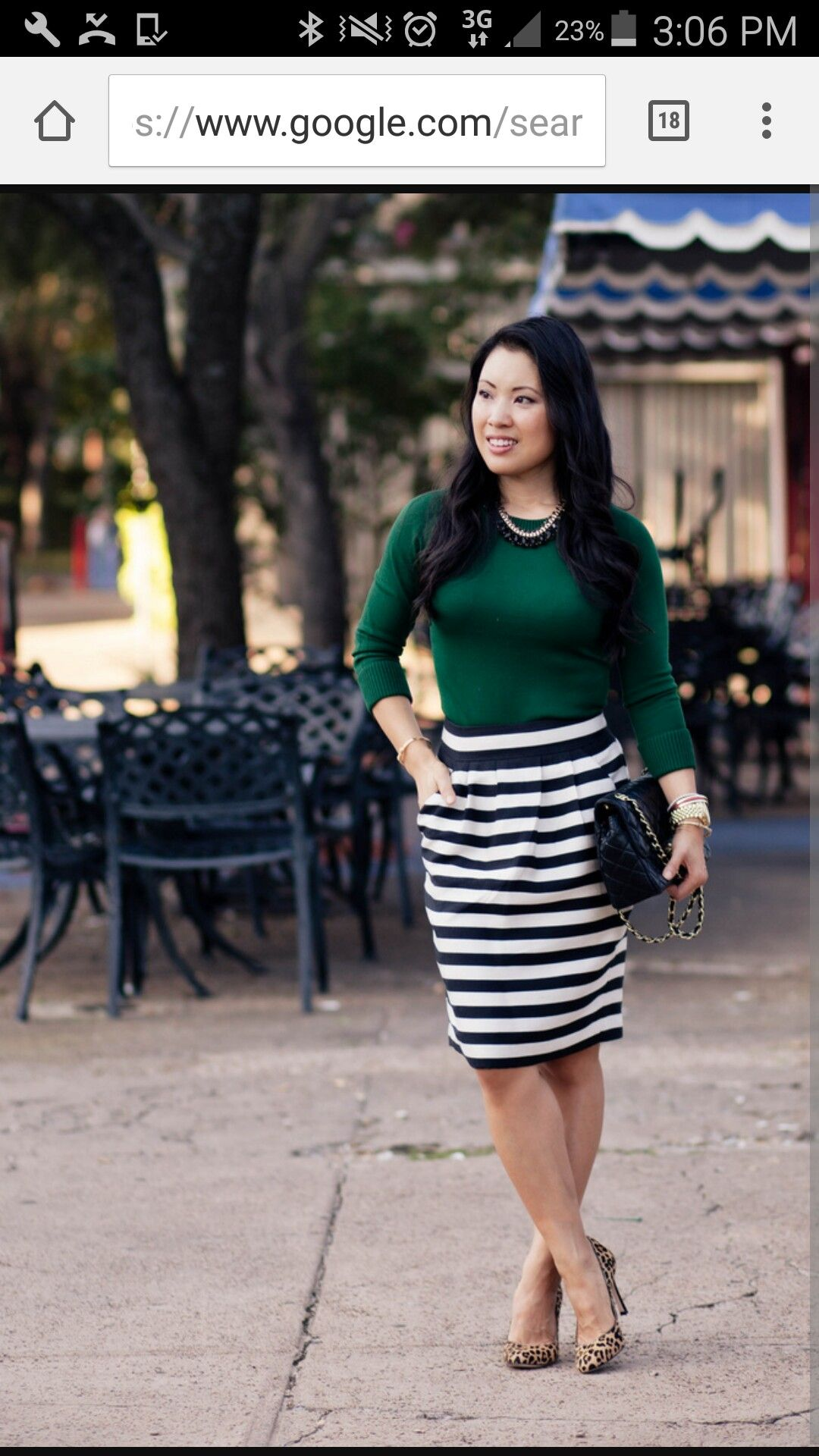 Green Top Stripe Black White Skirt Striped Skirt Outfit Maxi