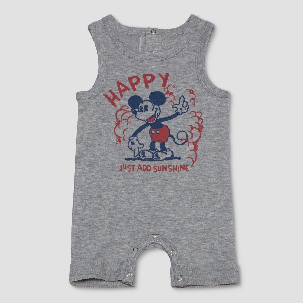 ad0ffb93a58cf Keep your baby boy feeling comfy all day long in this Disney Mickey Mouse  Sleeveless Bodysuit from Junk Food. This sleeveless gray bodysuit features  a ...
