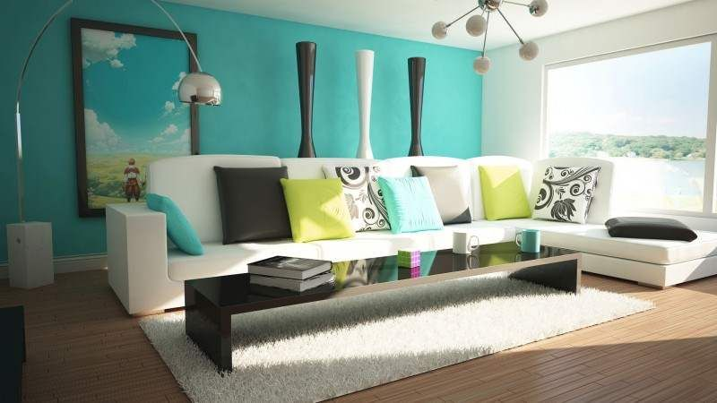 outstanding turquoise blue green living room and natural light