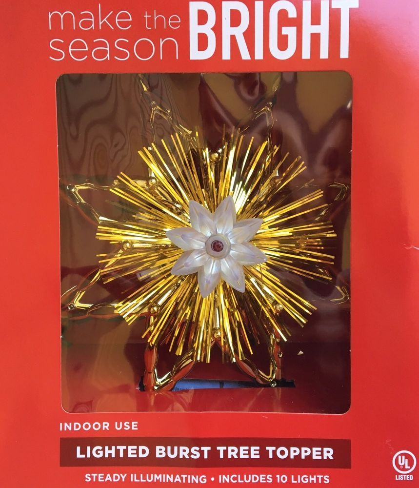 Bright Lighted Burst Gold Tree Topper 10 Lights 8 Point
