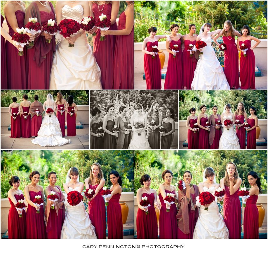Wedding Ideas In November: Red Bridesmaids Dresses For A November Wedding, San Diego
