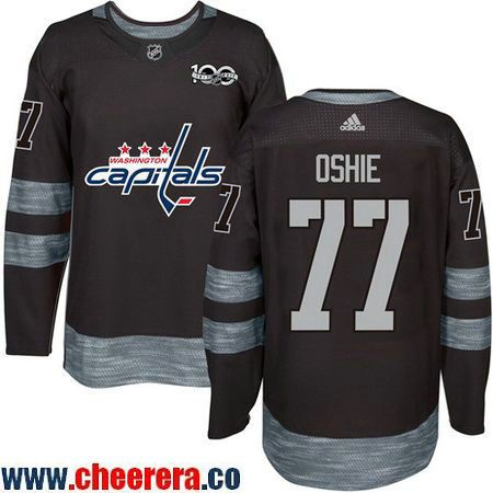 Men's Washington Capitals #77 T.J. Oshie Adidas Black 100th Anniversary NHL Jersey