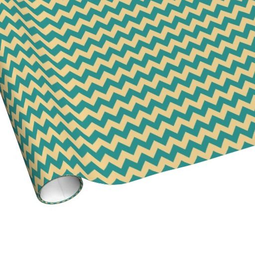 Wide Stripe Tan/Teal Chevron Wrapping Paper