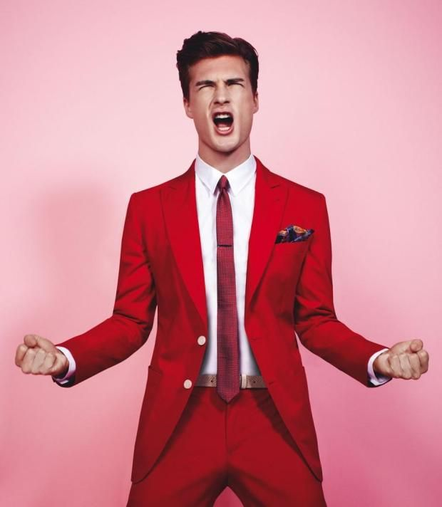 Nice red! I wish my red suit was this bright! | Fashionable Men ...