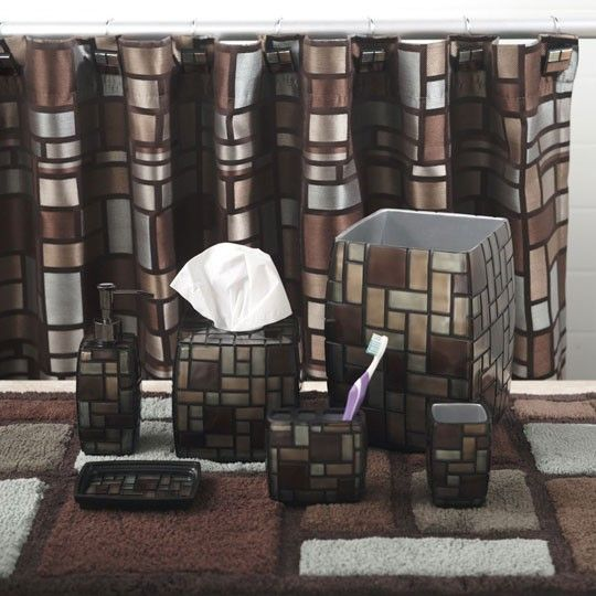 ZEPHYR BATH COLLECTION FROM ANNAu0027S LINEN; SHOWER CURTAIN AND TRASHCAN ONLY