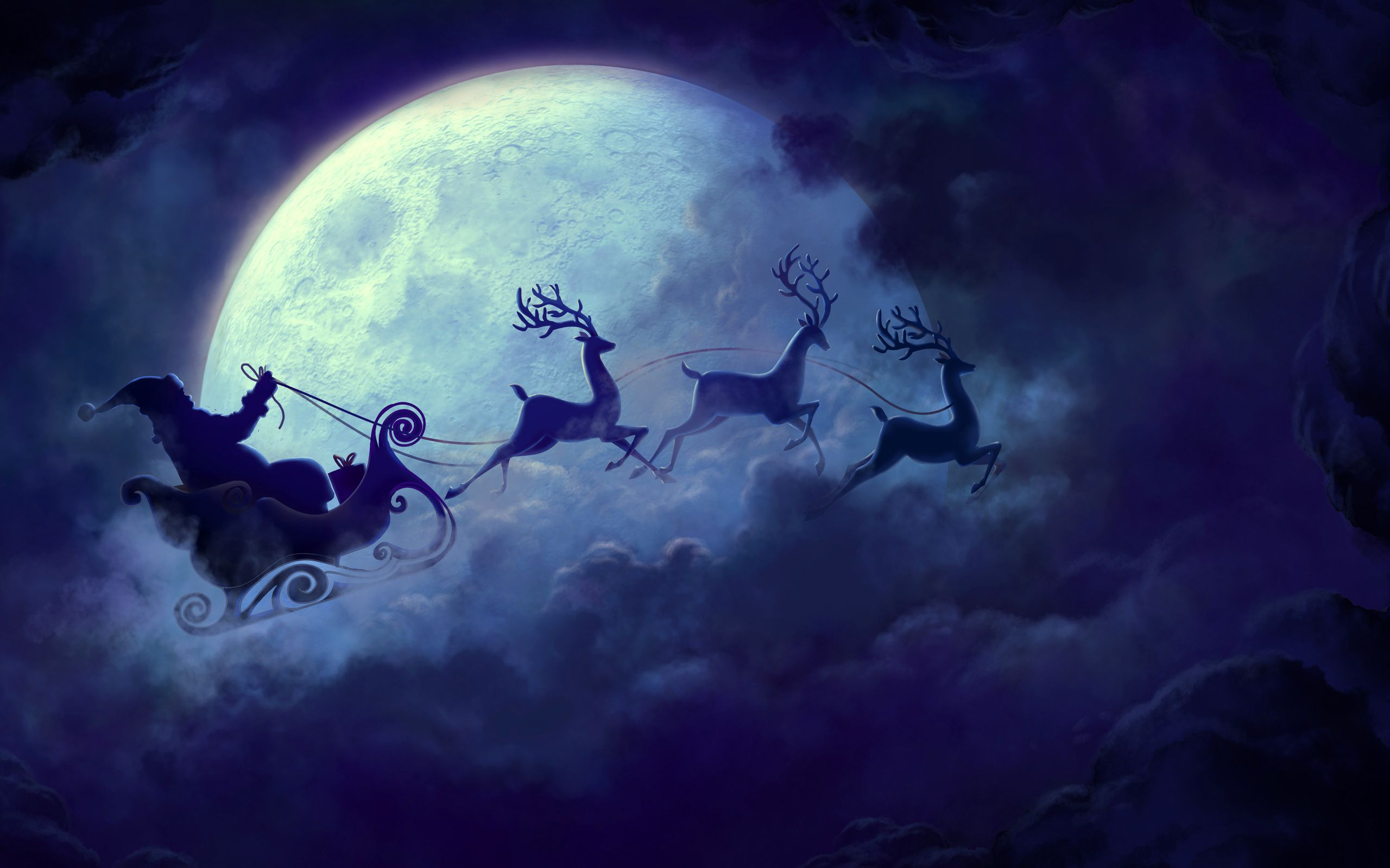 Christmas Santa Claus Riding Reindeer By The Moon Http Www Newiphonewallpapers Net Santa Claus Wallpaper Christmas Wallpaper Backgrounds Christmas Pictures