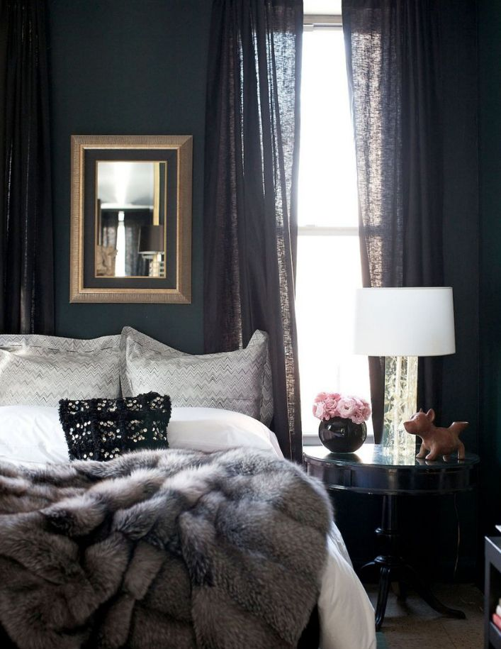 Beau Beautiful, Dark And Cozy Bedroom Painted Black With White Bedding And A  Gray Faux Fur Throw Blanket.