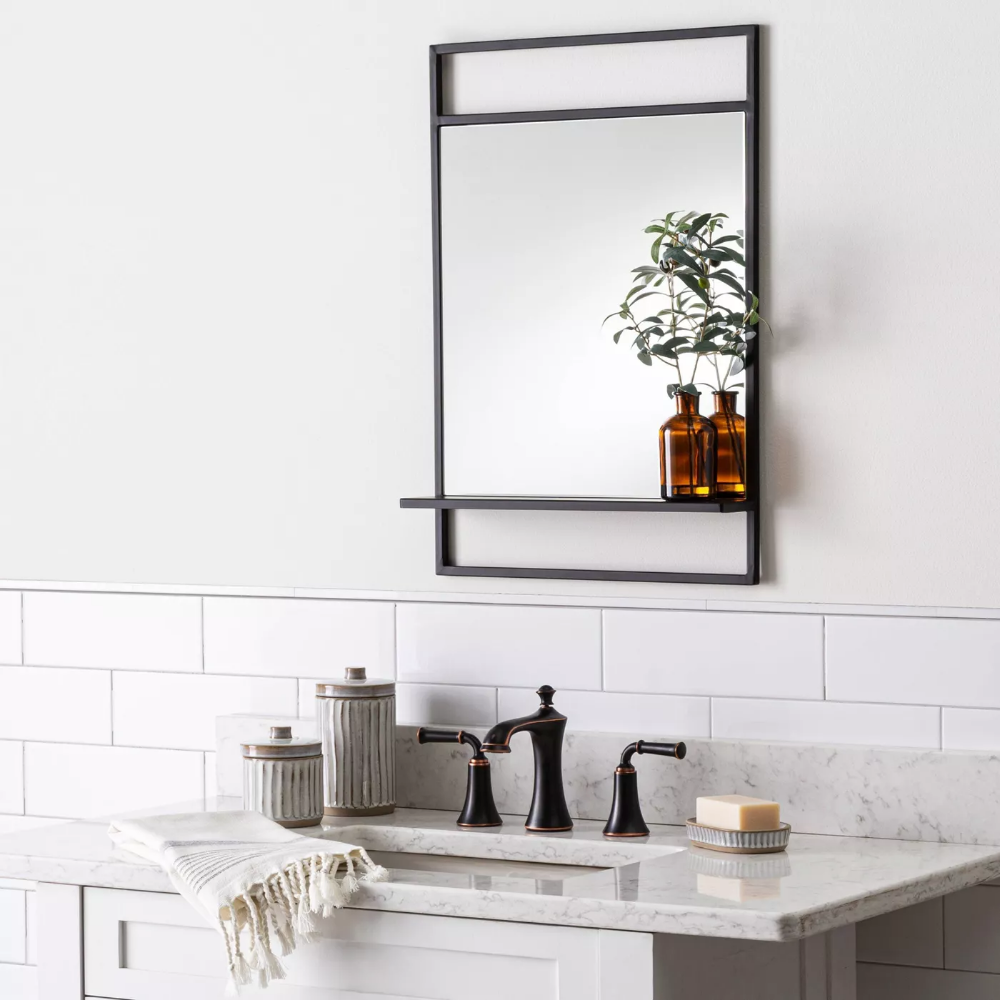 Bath Mirror With Shelf Black Hearth Hand With Magnolia Target Bath Mirror Mirror With Shelf Hearth