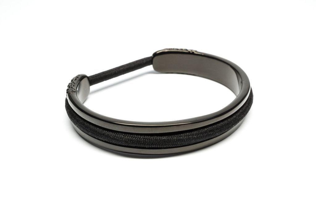 Black Flower Design Hair Tie Bracelet