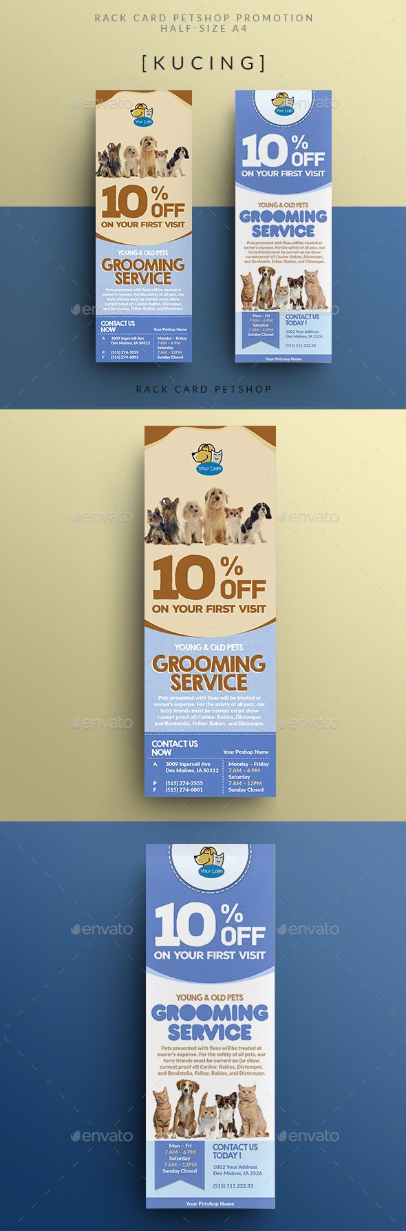 Rack Card Pet Shop Promotion Miscellaneous Events Advertising