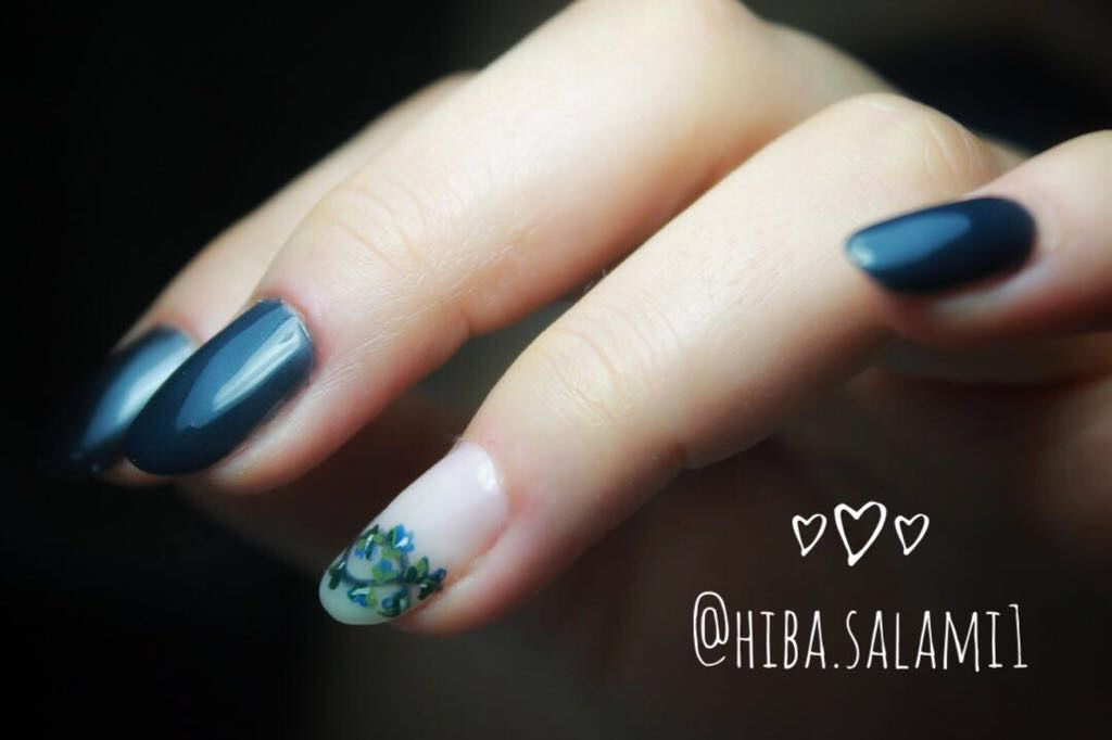 Nails Nail Blue Navy Flowers Smaller Flowers Nail Design