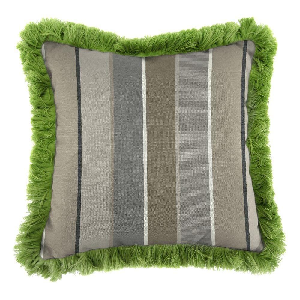 Jordan Manufacturing Sunbrella Milano Charcoal Square Outdoor Throw Pillow with Gingko Fringe, Milano Charcoal/Gingko