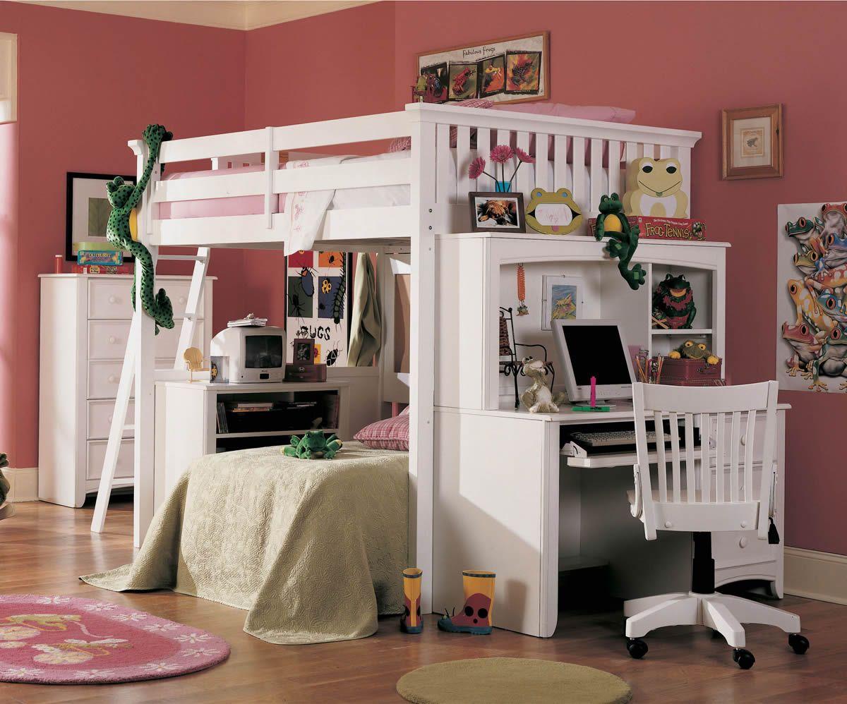 Girls loft bed with desk - Girls Loft Beds For Teens Lea Getaway Full Size Loft Bed Set