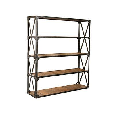 Vintage Reclaimed Wood Metal Bookcase Bookshelf