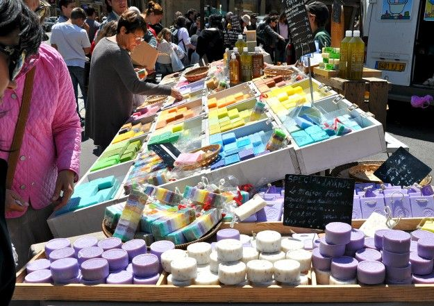 Market day in Aix en Provence for of all the worldly wonders, French milled soap.