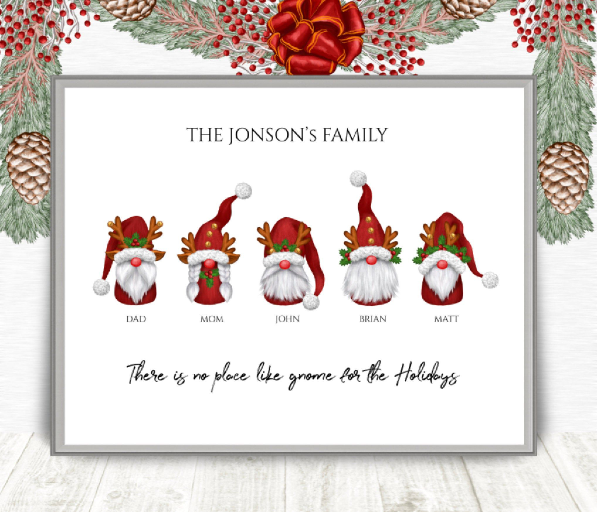 Personalized Christmas Gnome Family Printable Christmas Wall Etsy In 2020 Gnome Gift Family Christmas Gifts Family Christmas Cards