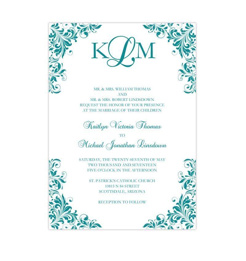 Cheap Print Your Own Wedding Invitations: Kaitlyn Wedding Invitation Teal