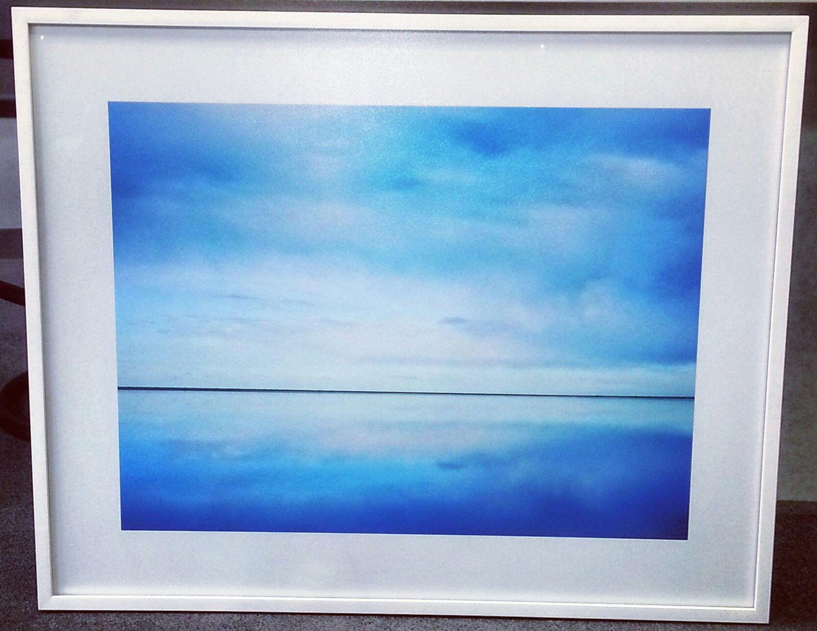 White frame + white mat + museum glass = modern. #art #framing ...
