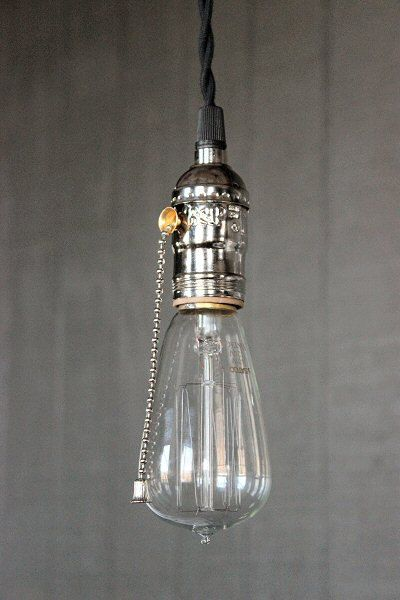 Bathroom Light Fixture Pull Chain industrial bare bulb pendant light, silver pull chain socket