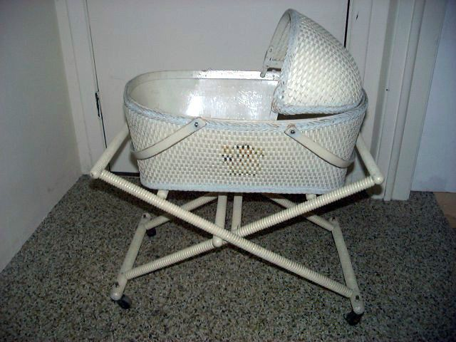 Details About Antique Wicker Doll Bassinet With Original Stand