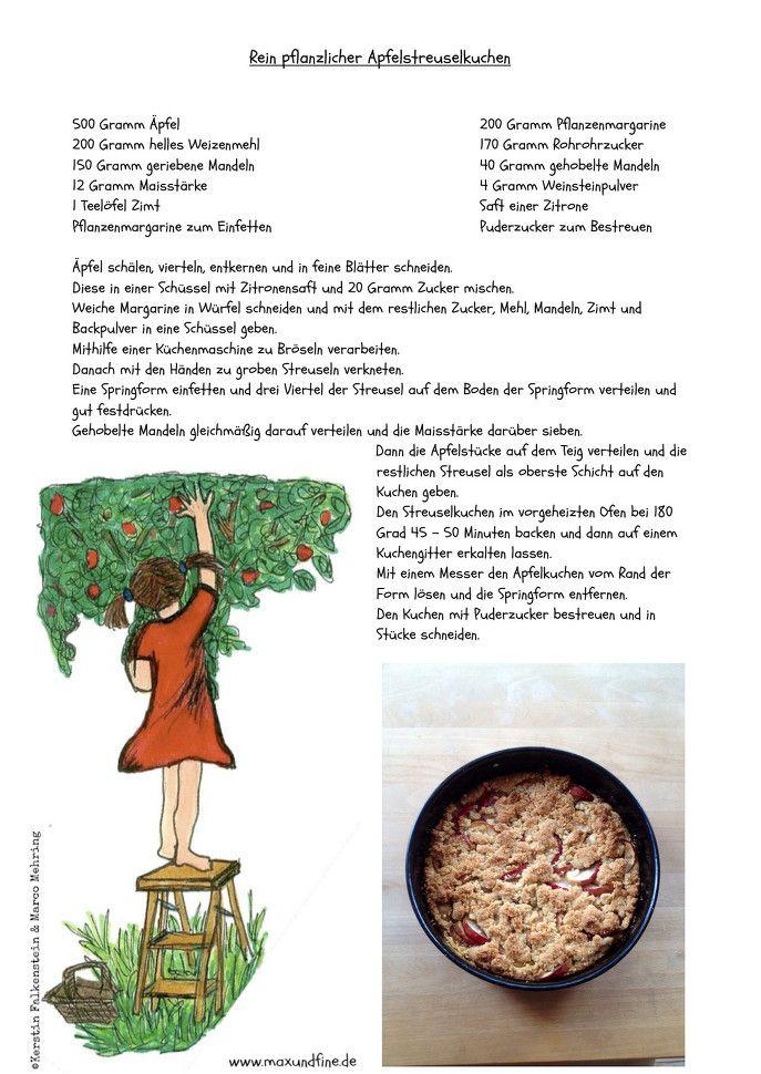 Heute habe ich einen leckeren Apfelstreuselkuchen gebacken. Probiert es doch mal aus, es ist kinderleicht. #kinderbuch #maxundfine