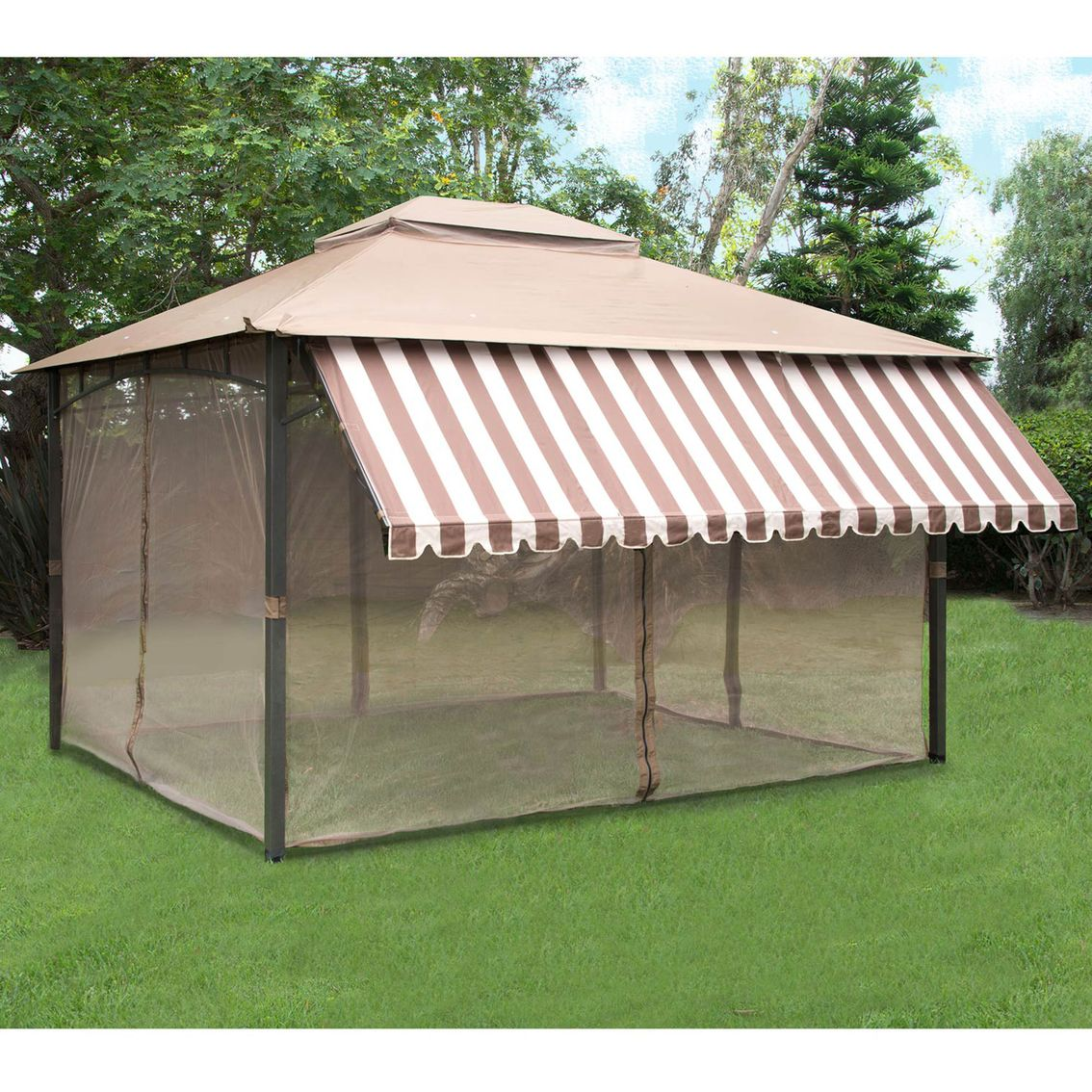 Pacific Casual Jefferson Point Ii Garden House With 12 Ft Half Awning Green Houses Garden Beds More Shop The Home And Garden Pergola Patio Roof Styles