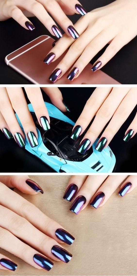 Beautiful Metallic Chrome Nail Art Designs | Beauty | Pinterest ...