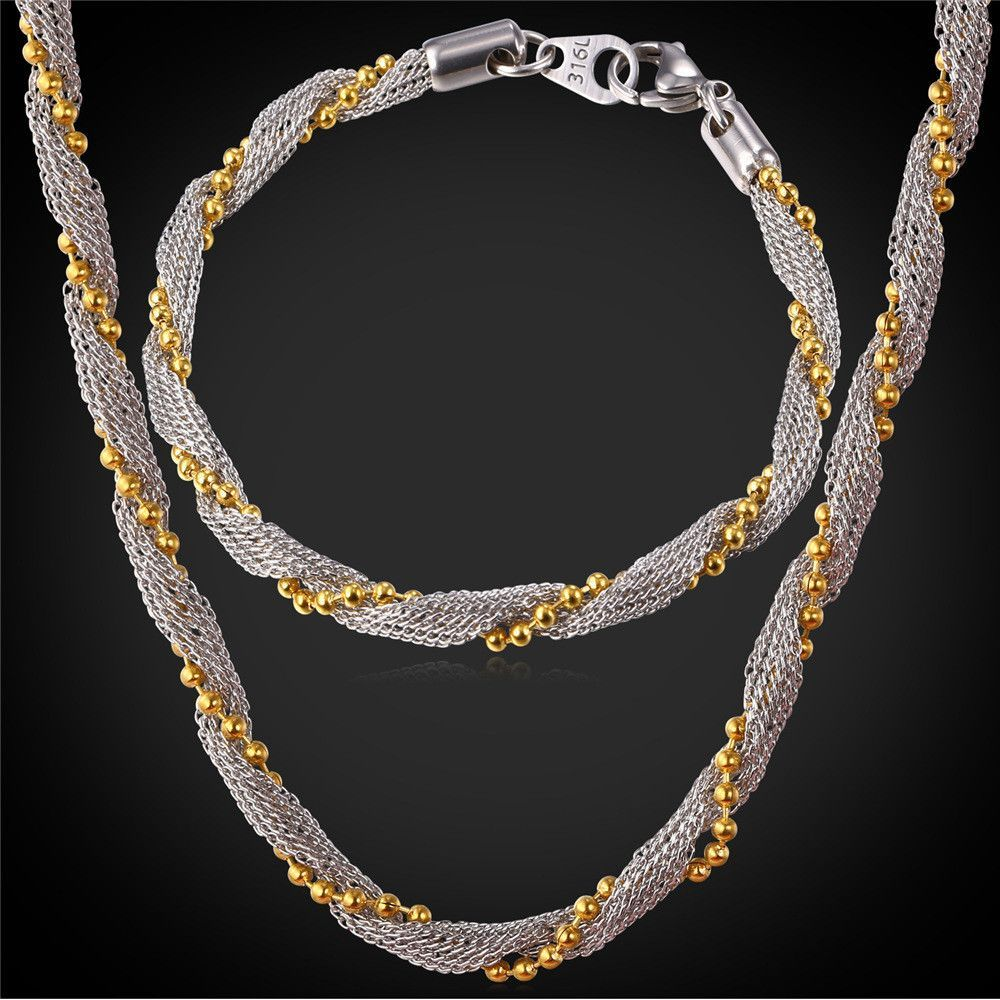 Multitone gold plated rope chain necklace set l stainless steel