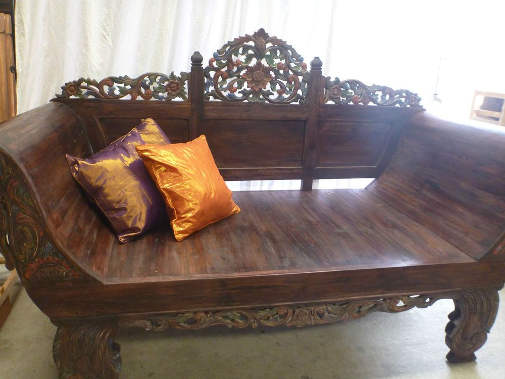 Balinese Hand Carved Teak Day Bed Bench Seat Lounge
