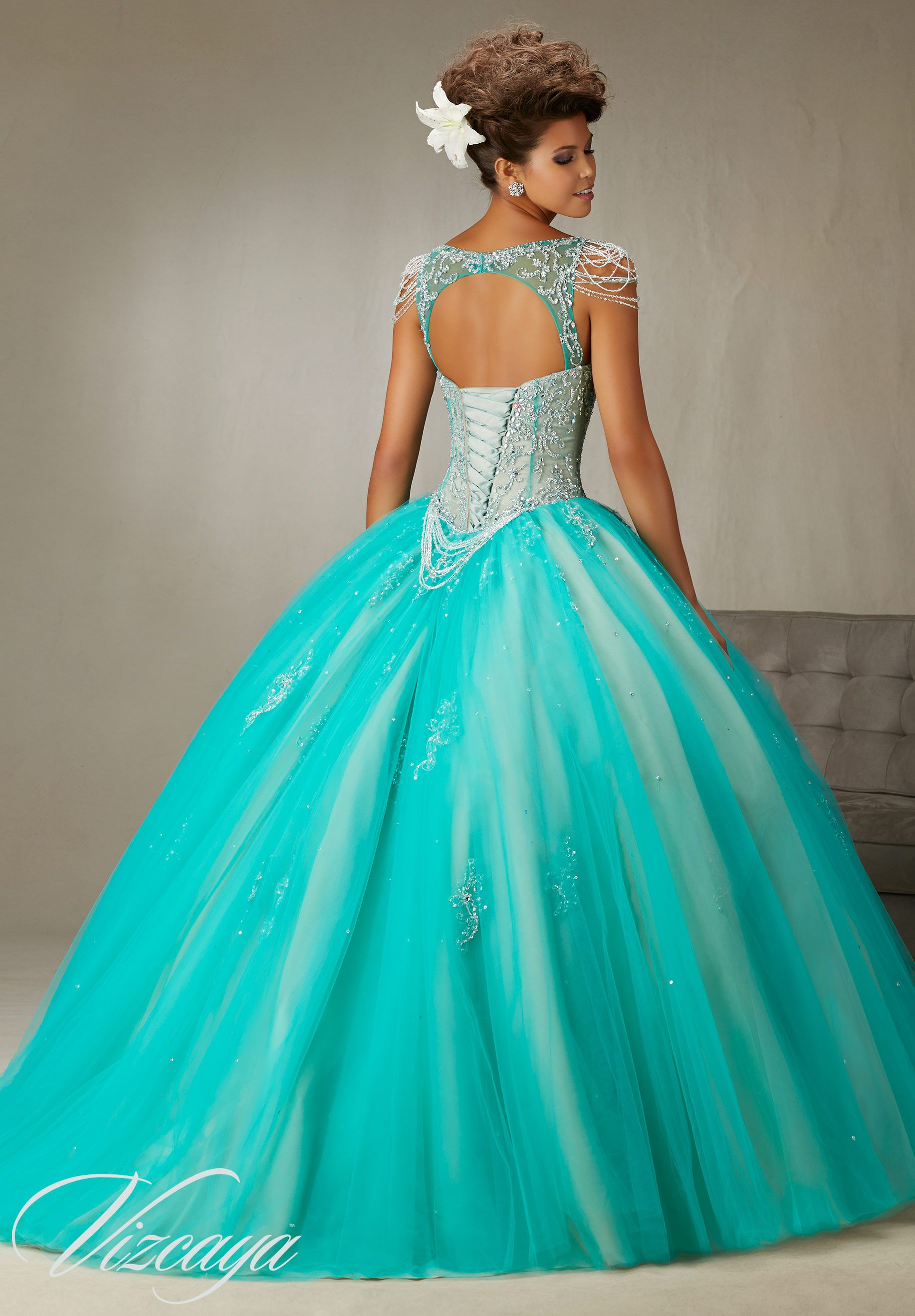 Quinceanera Dress 89065 Beading and Embroidery on a Tulle Ball Gown ...