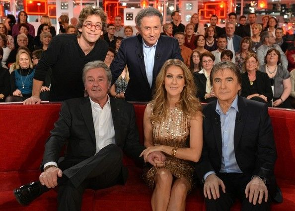 "Celine Dion Photos Photos - Celine Dion appears on the French television show  ""Vivement Dimanche"" with Alain Delon, Serge Lama. - Celine Dion on 'Vivement Dimanche'"