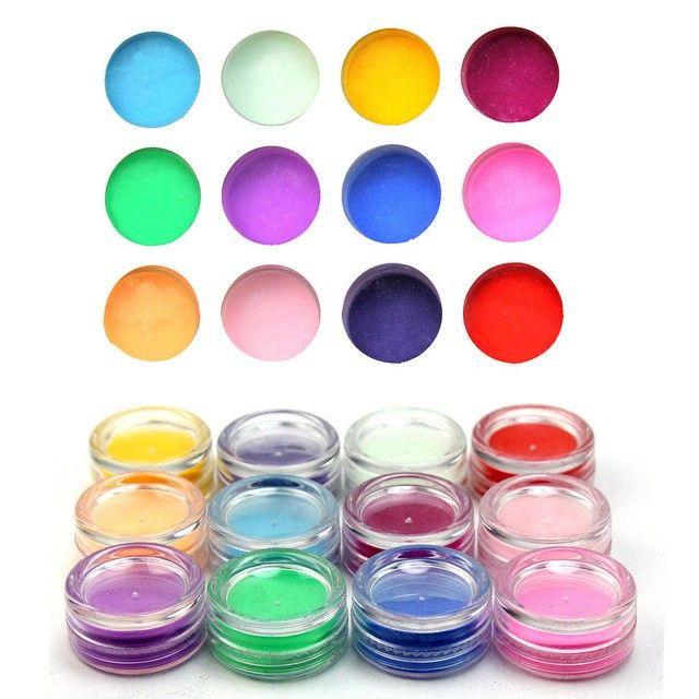12 PCS Mix Color 3D Acrylic Powder Pigment Glitter Dust Nail Art   foxychicboutique - on ArtFire