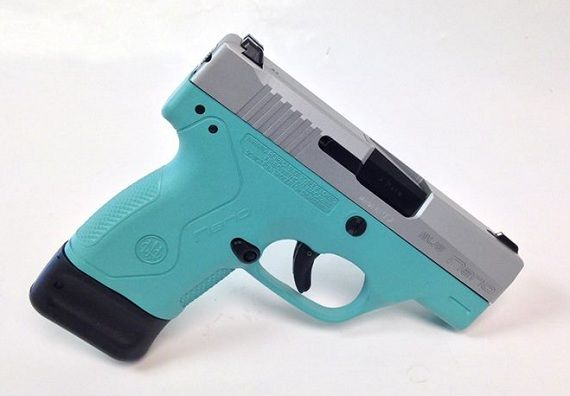 This Is A Beretta Nano 9mm Handgun In Tiffany Blue With A Stainless