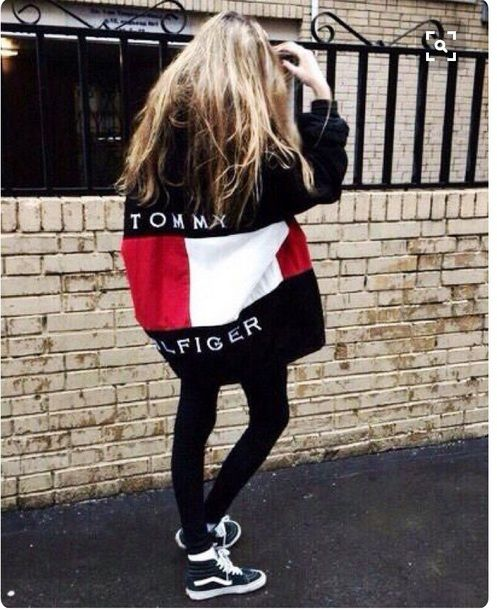 114ab7565d8  90 Black And White High Top Old School Skate Style Vans Sneakers Black Red  And White Logo Tommy Hilfiger Oversized Jacket And Black Denim Skinny Jeans  ...