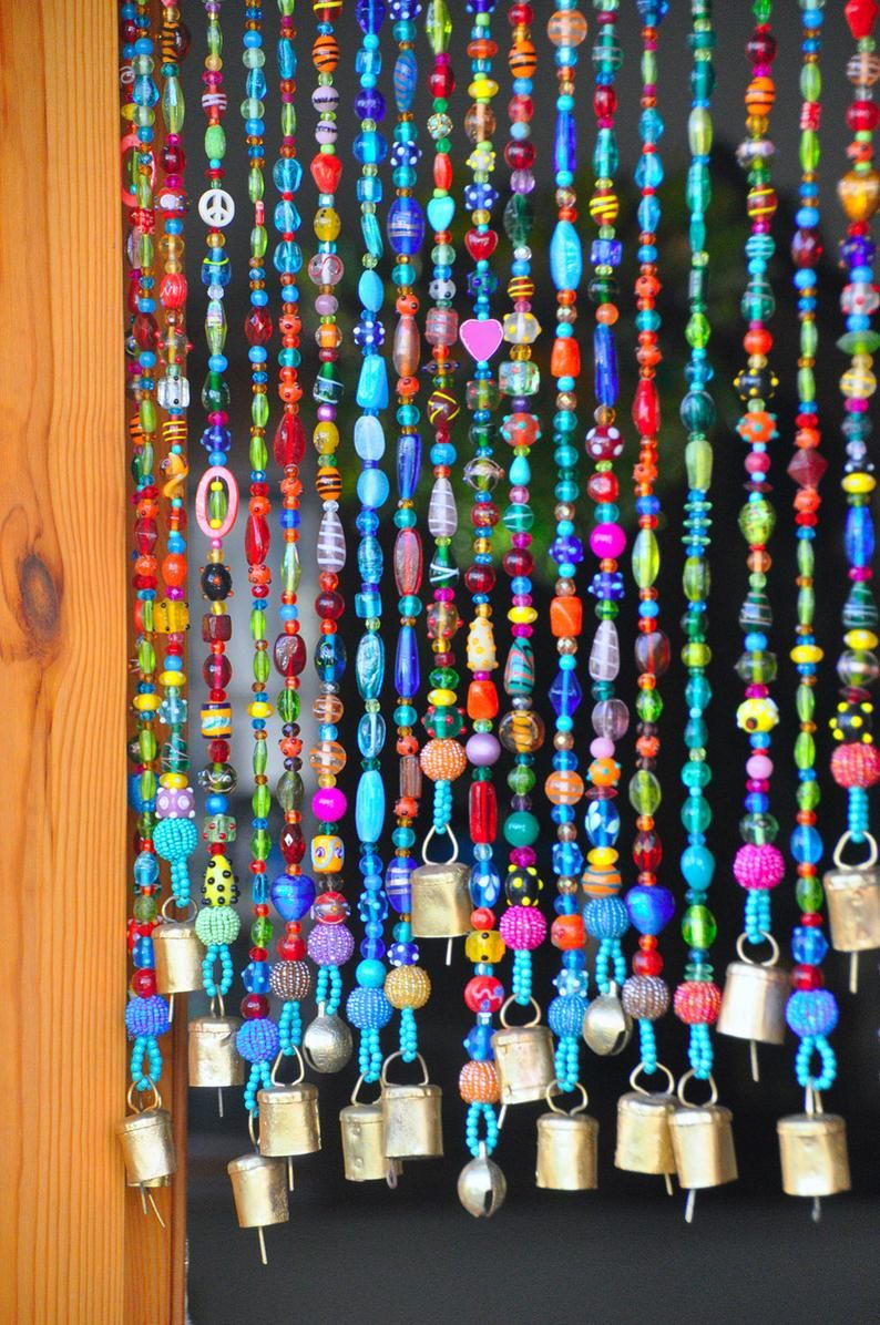 Colorful Bohemian Glass Bead Curtain With Brass Bells Made To Etsy In 2020 Door Beads Hanging Door Beads Bohemian Curtains