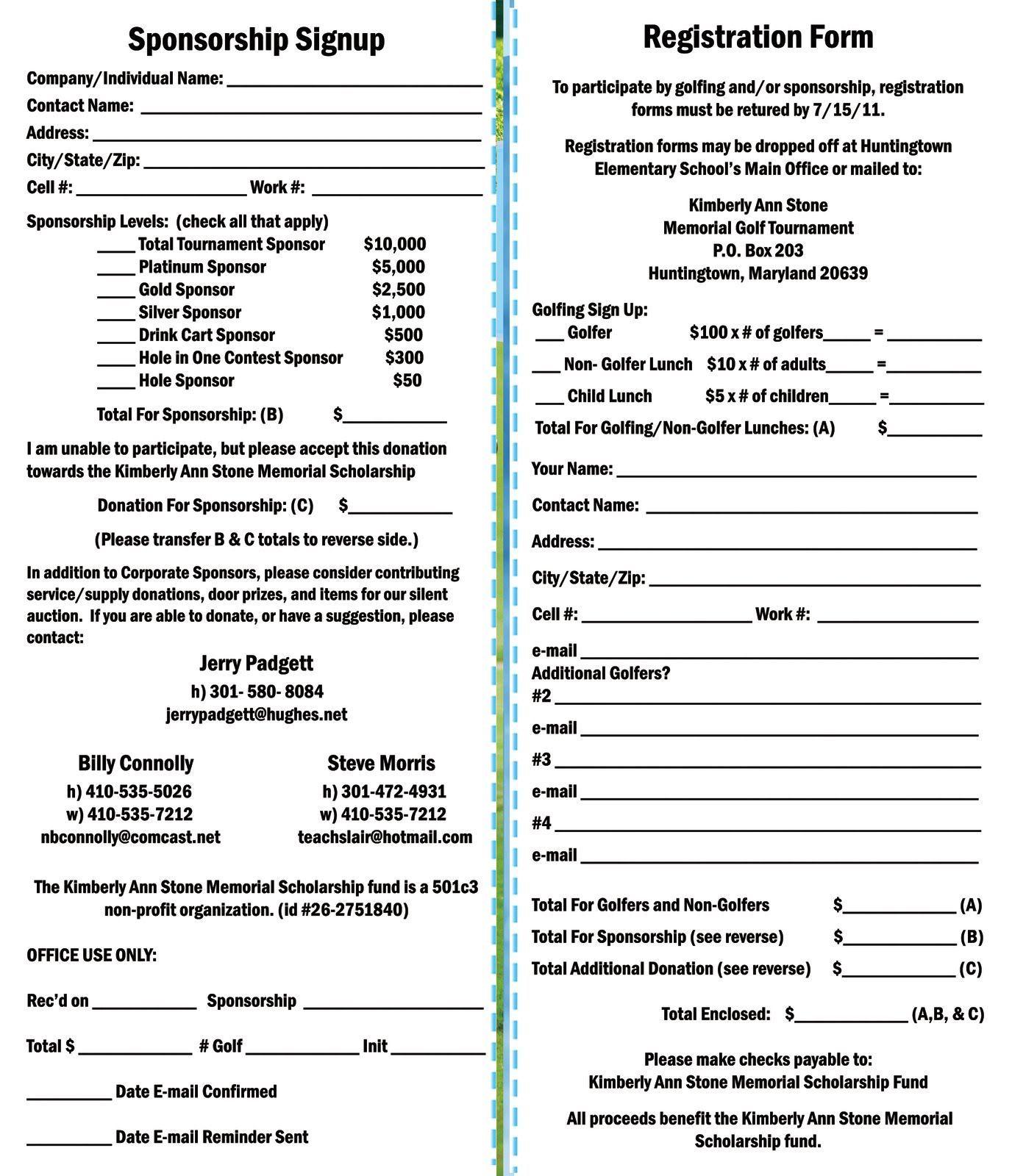Kimberly Ann Stone 4th Annual Memorial Golf Tournament Registration Form Golf Tournament Ideas Fundraising Golf Outing Golf Fundraiser Golf outing registration form template