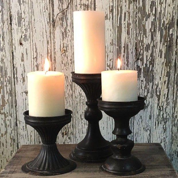 Black Tin Pillar Candle Holders Set Of 3 Candle Holders Pillar Candle Holders Pillar Candles