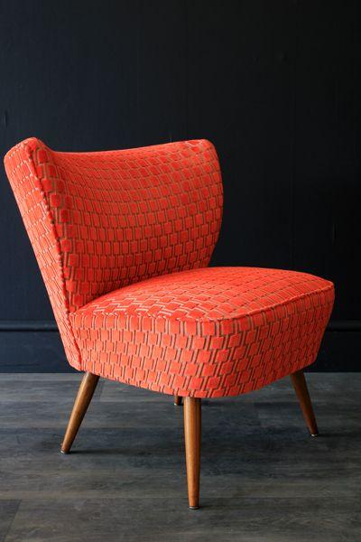 Upcycled 1950s Bartholomew Cocktail Chair Citrus Orange Underground Velvet Retro Chair Cocktail Chair Armchair Furniture