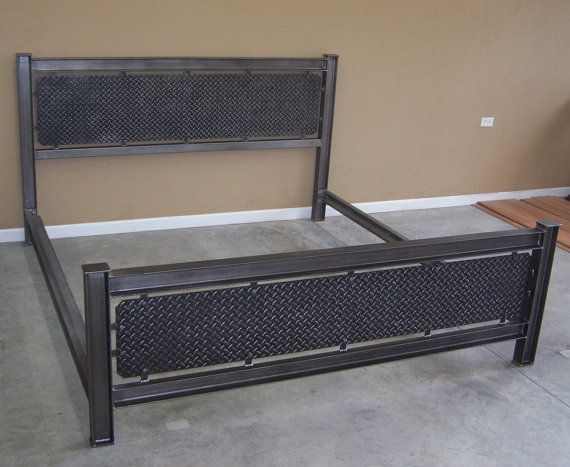 Industrial steel structural I beam bed frame diamondplate headboard ...