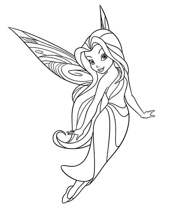 Silvermist Flying In Disney Fairies Coloring Page - Download & Print Online  Coloring Pages For Fr… Tinkerbell Coloring Pages, Fairy Coloring, Fairy Coloring  Pages