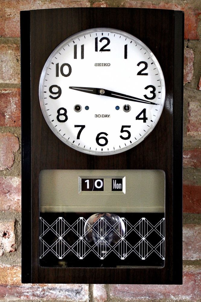 Vintage Japanese Seiko 30 Day Wall Clock With Calendar Chimes
