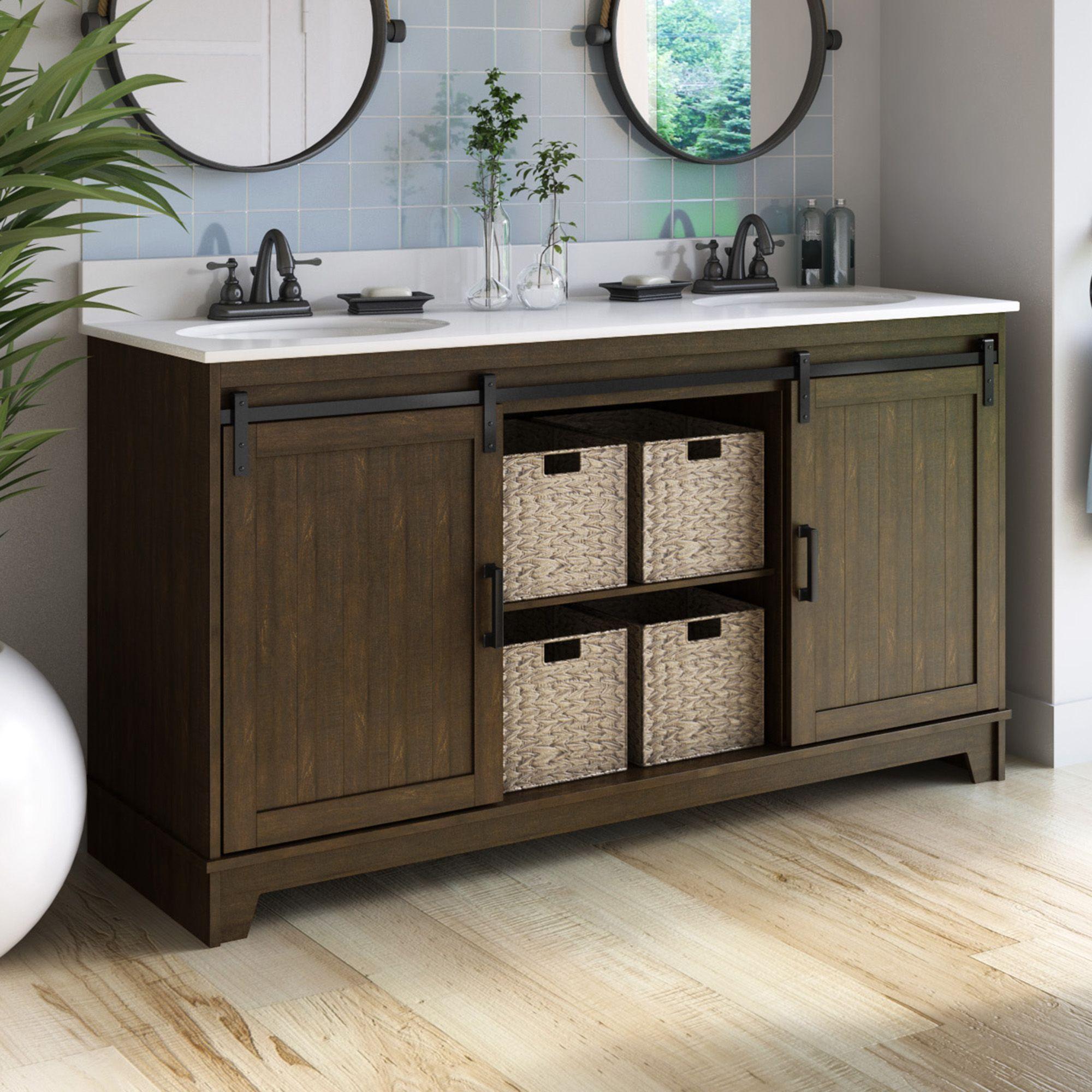 Trogdon Sliding Barn Door 60 Double Bathroom Vanity Set Small Bathroom Decor Bathroom Decor Bathroom Vanity [ 2000 x 2000 Pixel ]